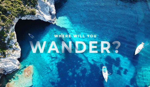 where will you wander, aerial blue waters view