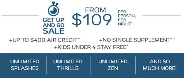 All-Inclusive Fares from $109 pp per night!