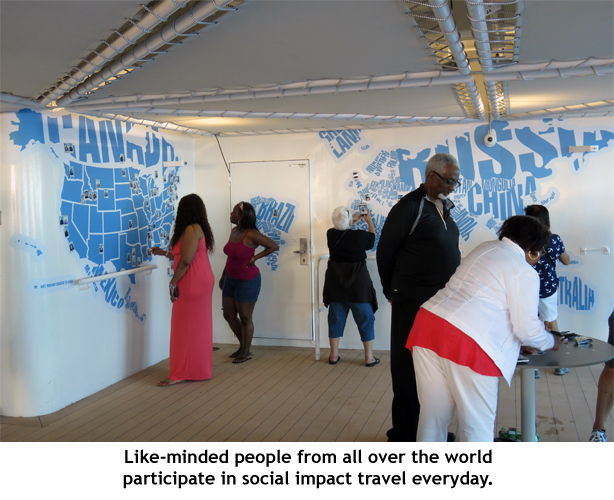 Like-minded people volunteering on a Fathom cruise