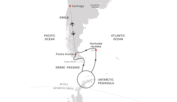 Sail roundtrip Punta Arenas to the Chilean Fjords, Antarctica, and the Falkland Islands