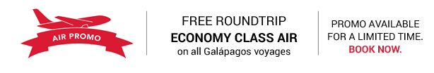 FREE Roundtrip Economy Class Air on all Galapagos voyages!