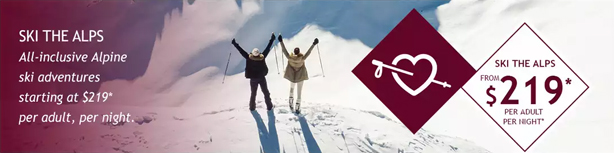 Ski the Alps from $219 per person, per day! Including lift tickets, lessons & more!