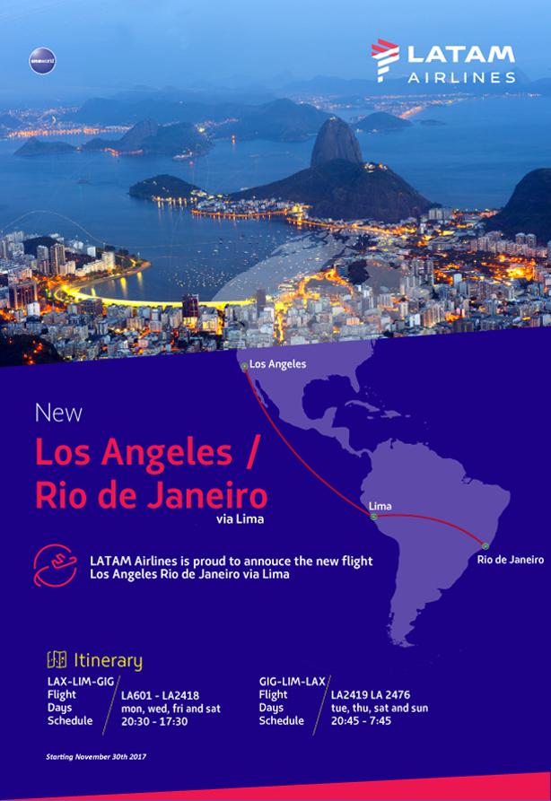 New Route on LATAM - LAX to Rio de Janeiro via Lima