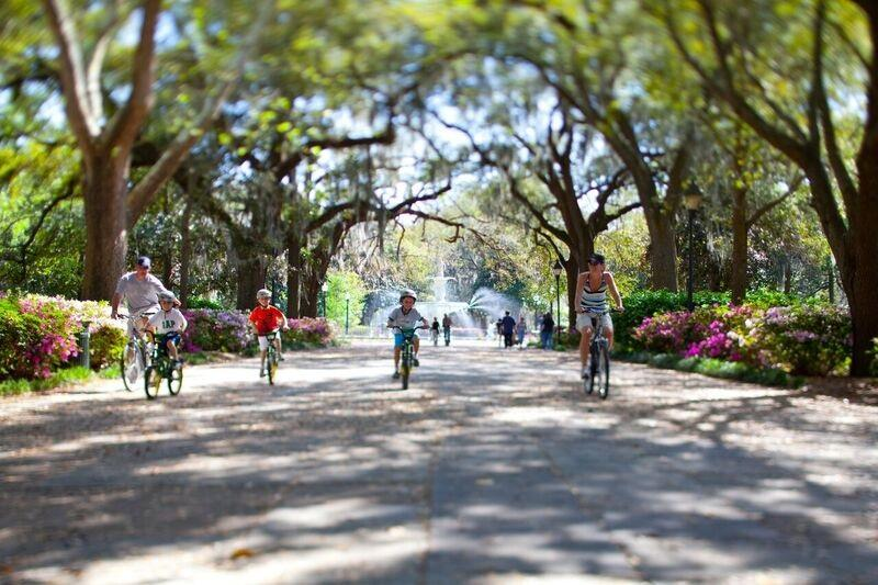 Biking in Forsyth Park
