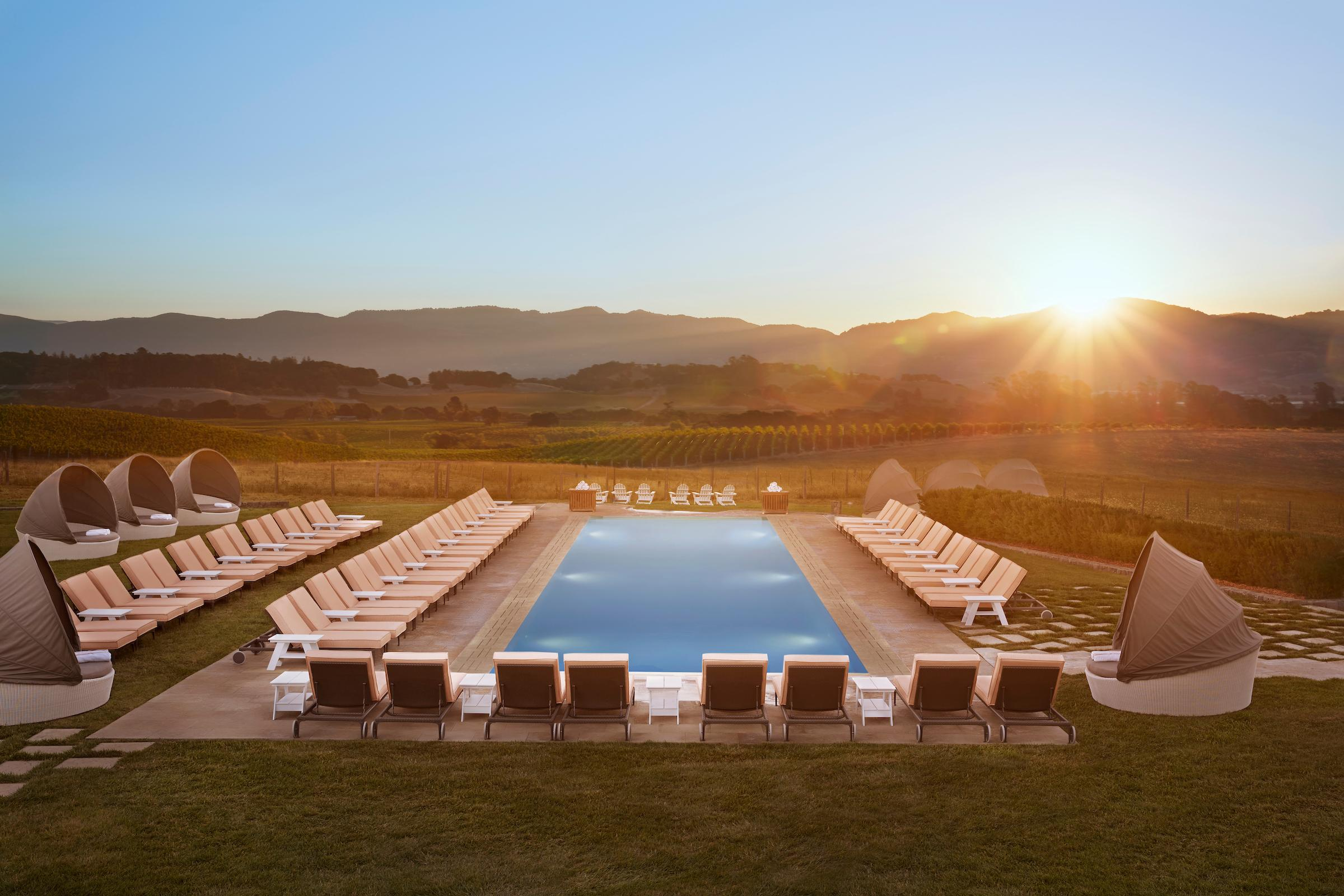 The stunning adult-only Hilltop Pool has sweeping views of the Carneros countryside for an idyllic Napa Valley experience.