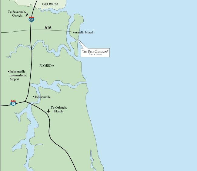 Amelia Island Florida Map.The Ritz Carlton Amelia Island Map Location