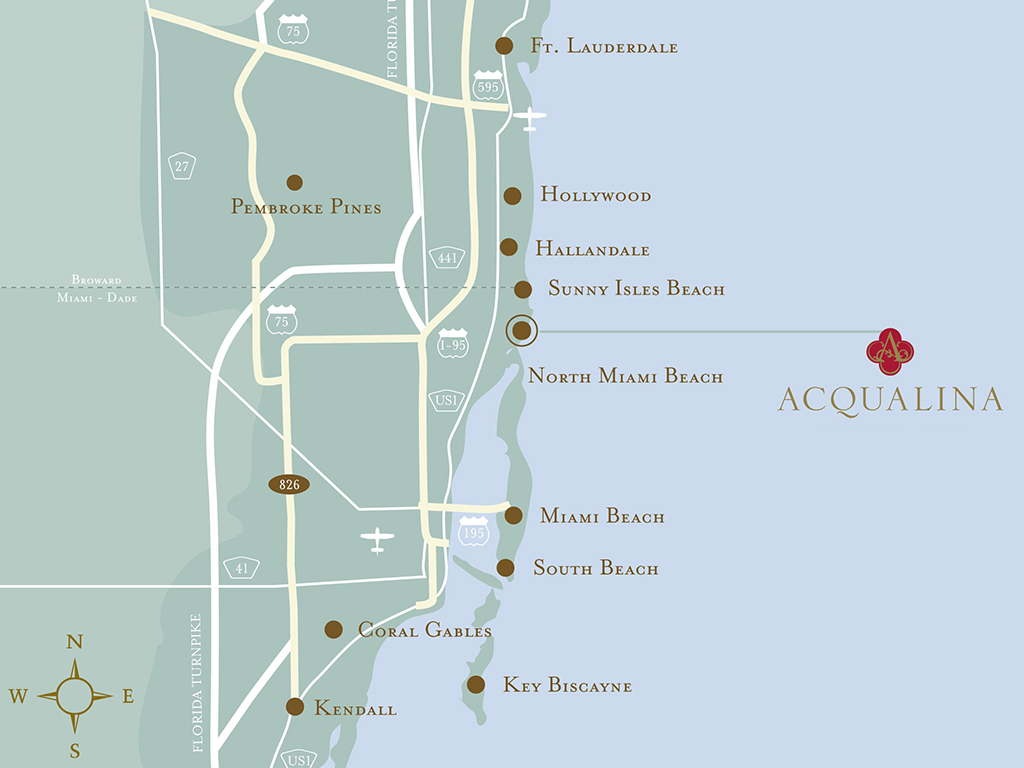 Map Hallandale Florida.Acqualina Resort Spa On The Beach Map Location