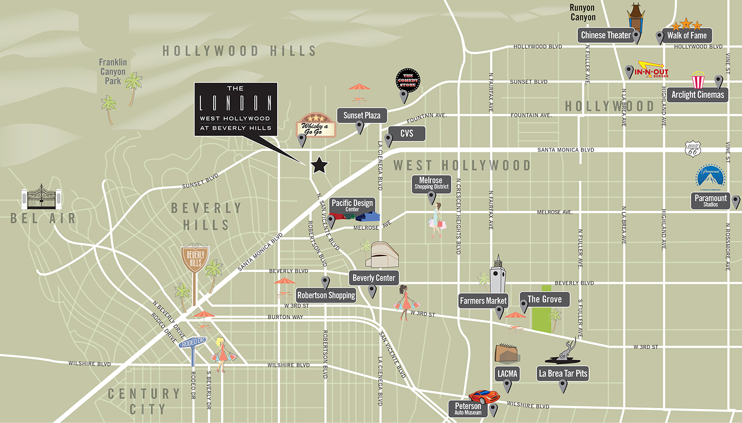maps driving directions to the london west hollywood