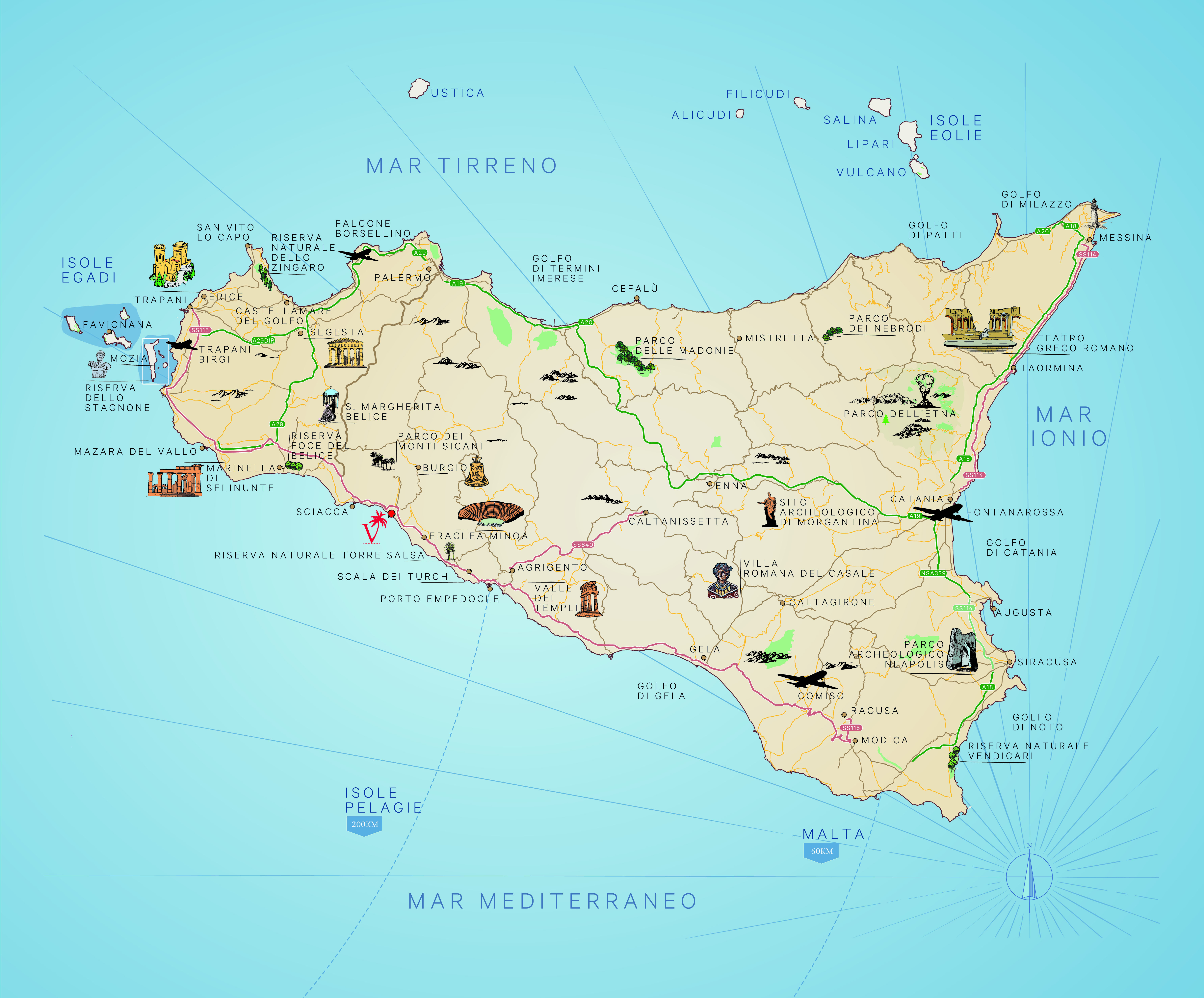photo regarding Printable Map of Sicily called Strictly Holidays