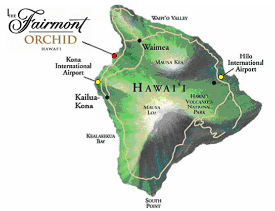 The Fairmont Orchid, Hawaii - Map/Location on u.s. border map, kona arrivals, mauna lani bay hotel map, big island beaches map, parker ranch hawaii map, kohala map, hnl gate map, hilo hawaii map, hilo hawaiian hotel map, big island of hawaii map, kona beachfront property, kona koa,